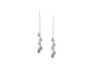 labradorite dangly chain earrings