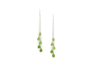 peridot dangly chain earrings
