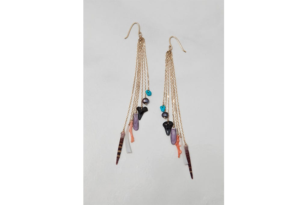 Cascade Earrings- Limited Edition Fossilized Shark Tooth