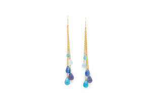 dangly chain earrings with blue teardrop briolette stones