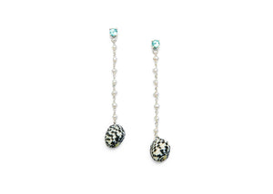 sterling silver drop earrings with apatite, freshwater pearls, and black and white snail shells