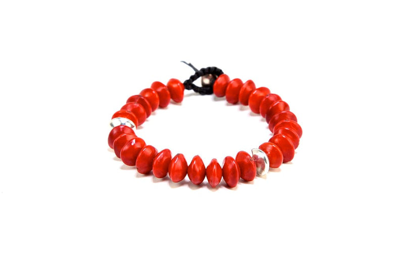 red wiliwili seed bracelet with silver beads
