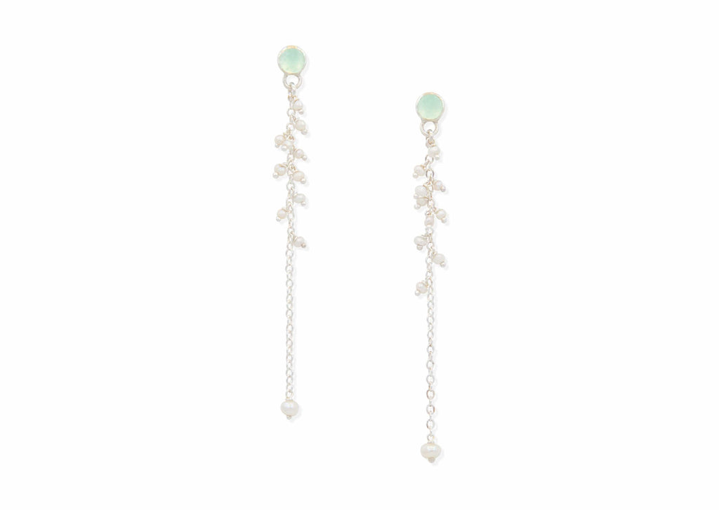 delicate rose cut chalcedony earrings with freshwater pearls
