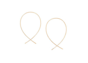 14k gold wire threader fish earrings
