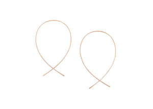 minimalist rose gold fill wire threader fish earrings