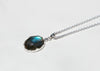 labradorite and gray diamond pendant on sterling silver cable chain