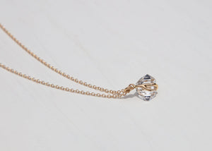 water clear herkimer diamond 14k gold necklace with sea plant design