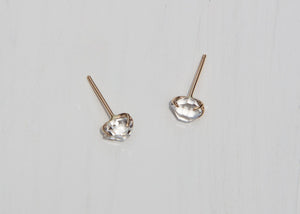 14k gold stud earrings with prong set water clear herkimer diamonds