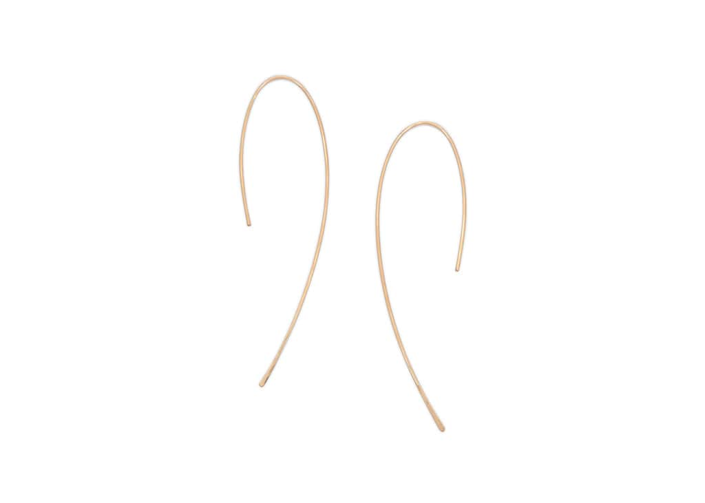 minimalist gold fill threader hook earrings