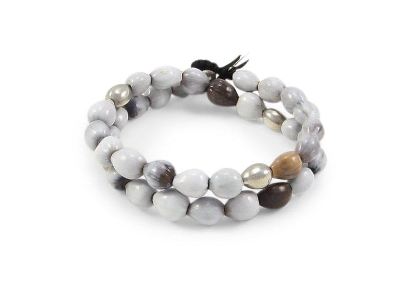 shiny round gray seed bracelet from hawaii
