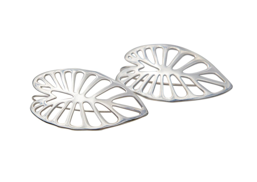 sterling silver taro leaf earrings with cutout designs
