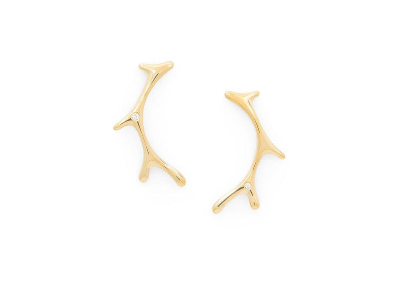 seaweed inspired 14k gold vermeil and diamonds hawaiian limu earrings