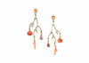 14k gold seaweed earrings with shells, coral, and peach moonstone