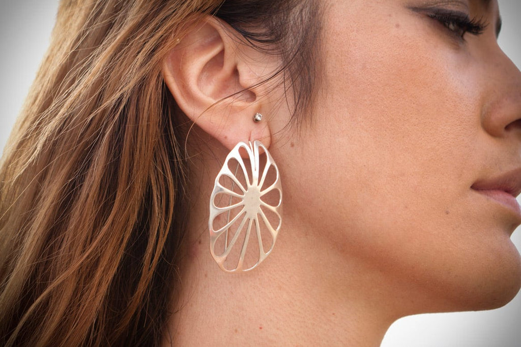 sterling silver lotus leaf earrings on model