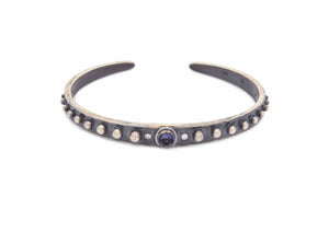 oxidized sterling silver nobby starfish cuff bracelet with bullet shaped iolite stone