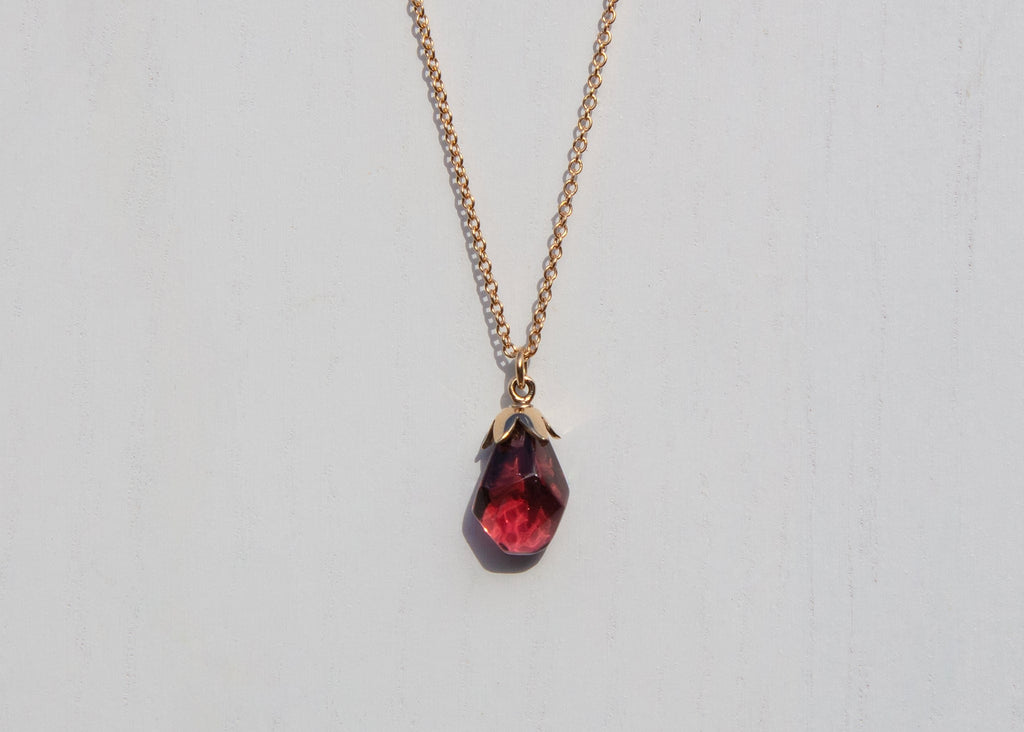 14k gold pomegranate seed necklace with custom cut pink tourmaline