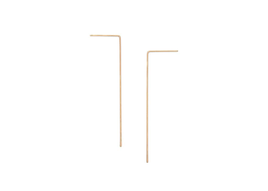 minimalist wire threader earrings