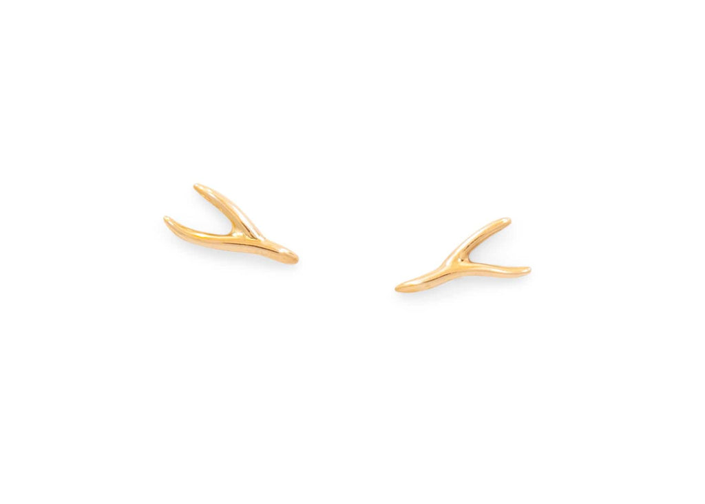 14k gold seaweed post earrings