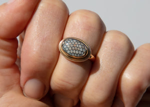 14k gold ring with snakeskin agate wrasse fish fossil on hand