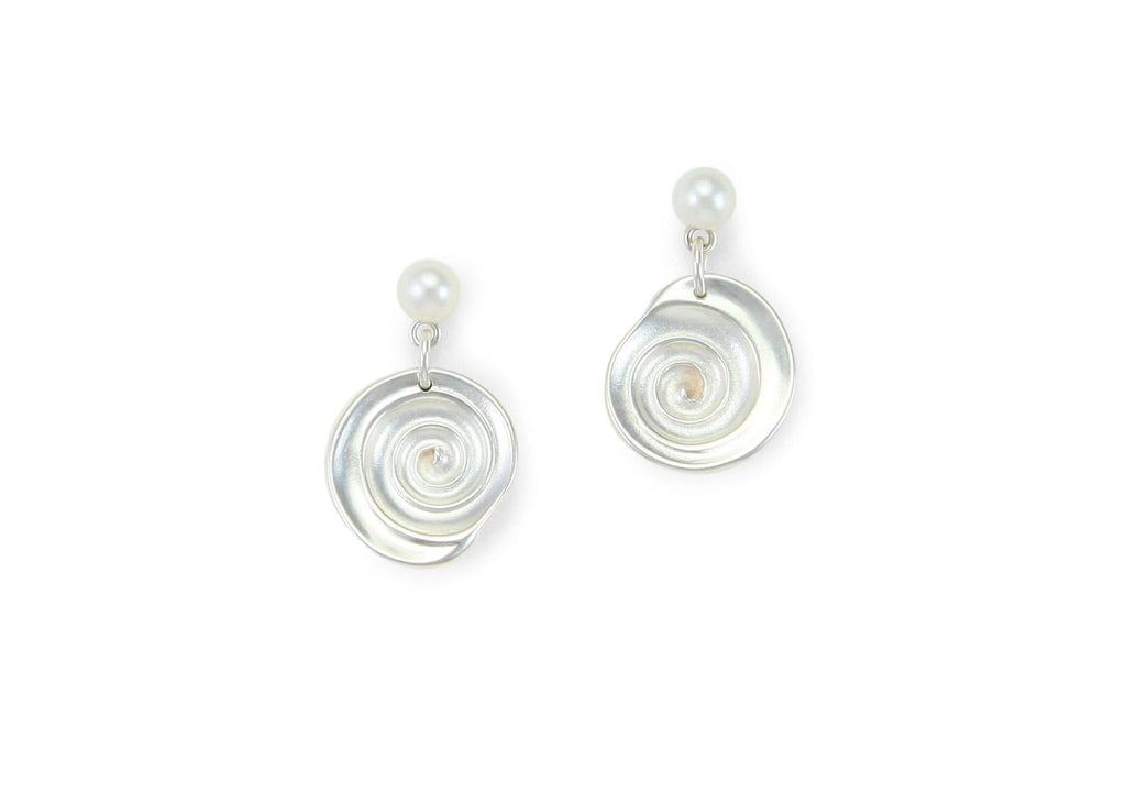 handmade sterling silver and freshwater pearl shell earrings