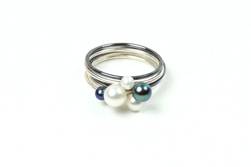 oxidized silver and sterling silver stackable ring set with freshwater pearls