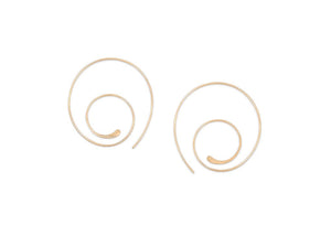 handmade gold swirl hoop threader earrings