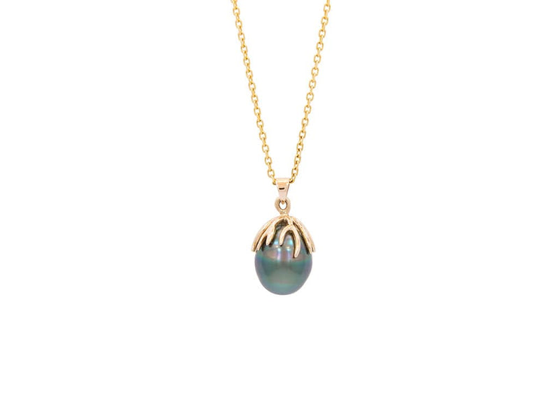 14k gold tahitian pearl necklace