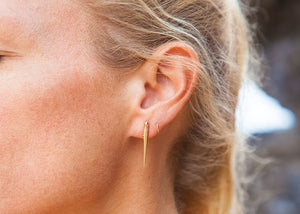 gold diamond urchin spine earrings