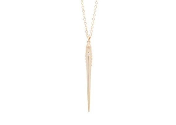 gold diamond minimalist urchin spine necklace