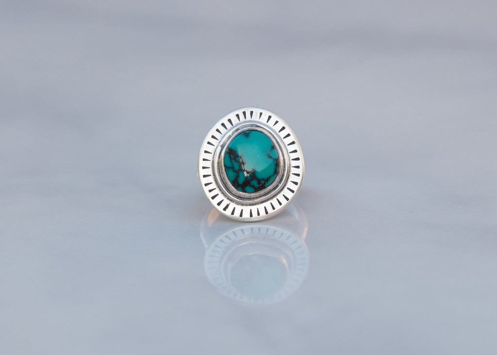 handmade sterling silver and turquoise statement ring with stamped sunburst pattern