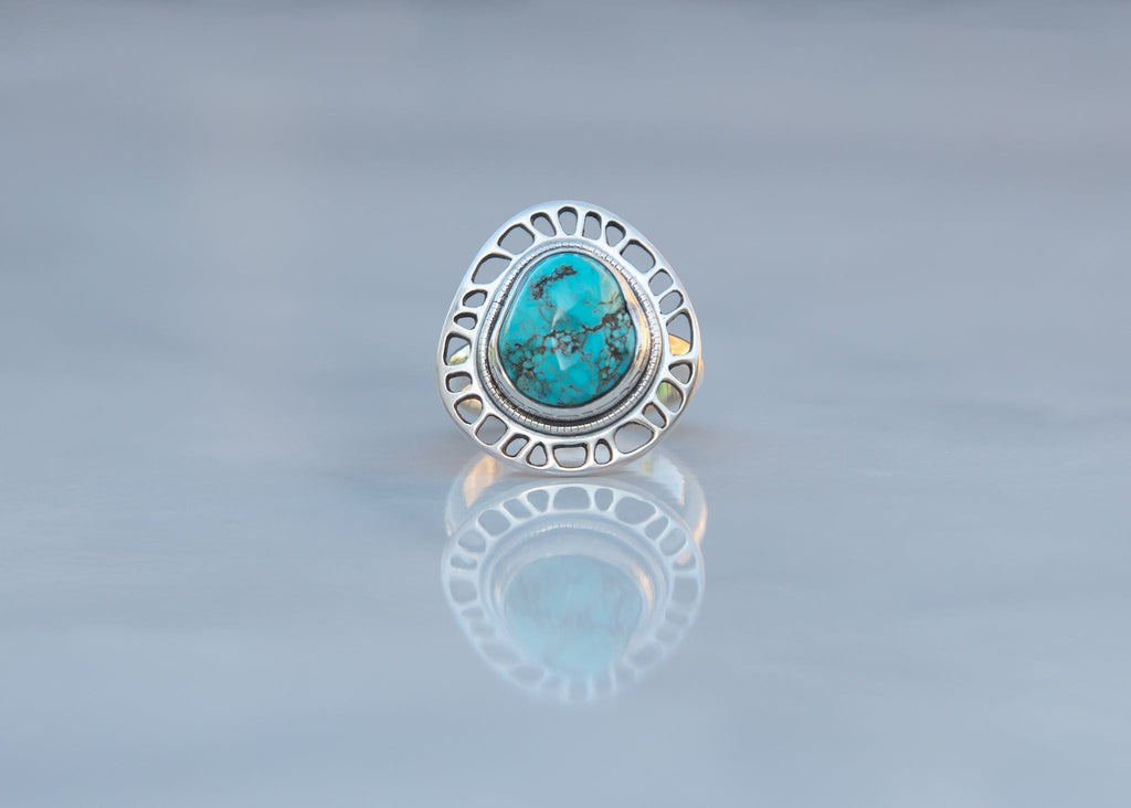 handmade sterling silver and turquoise ring with plant cell motif