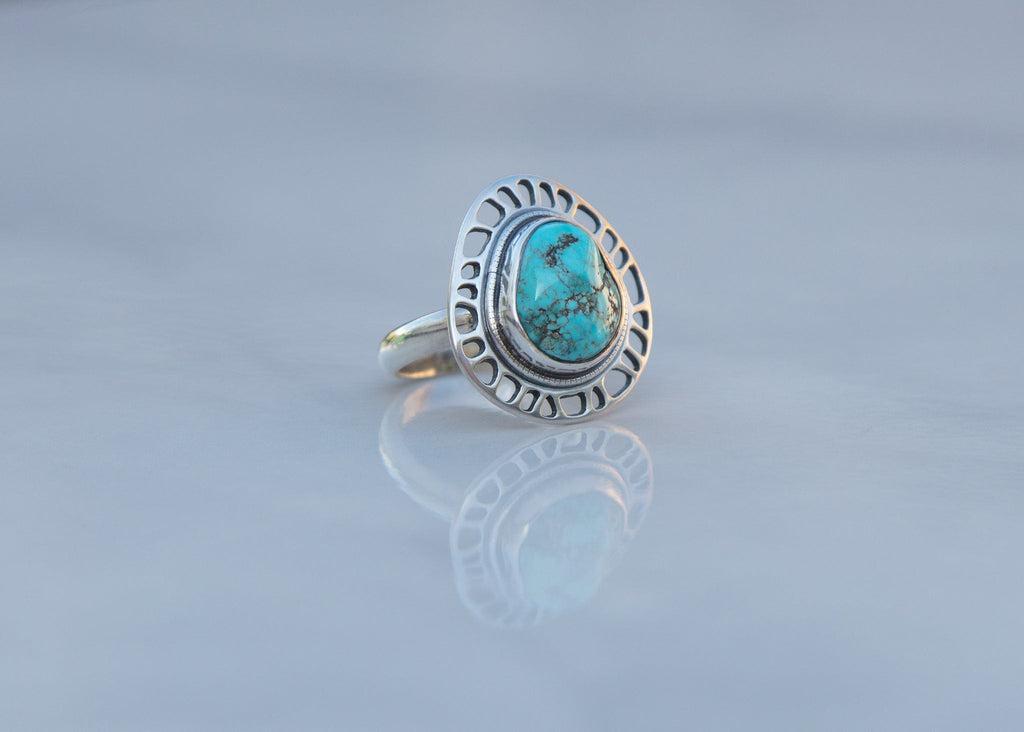 handmade sterling silver and turquoise statement ring with plant cell motif