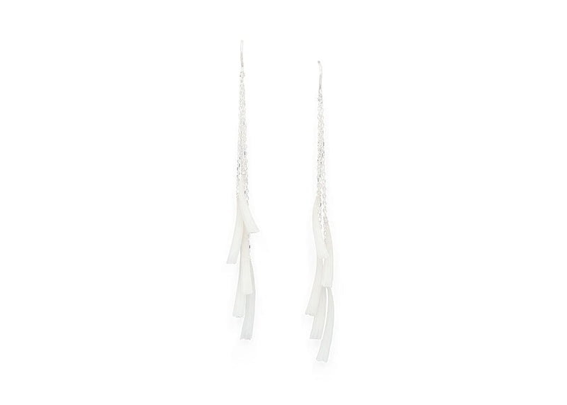 earrings made from long slender white shells on dangly vermeil chain