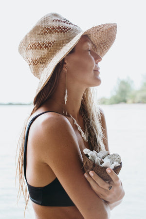 model wearing straw hat and long dangly earrings with white shells