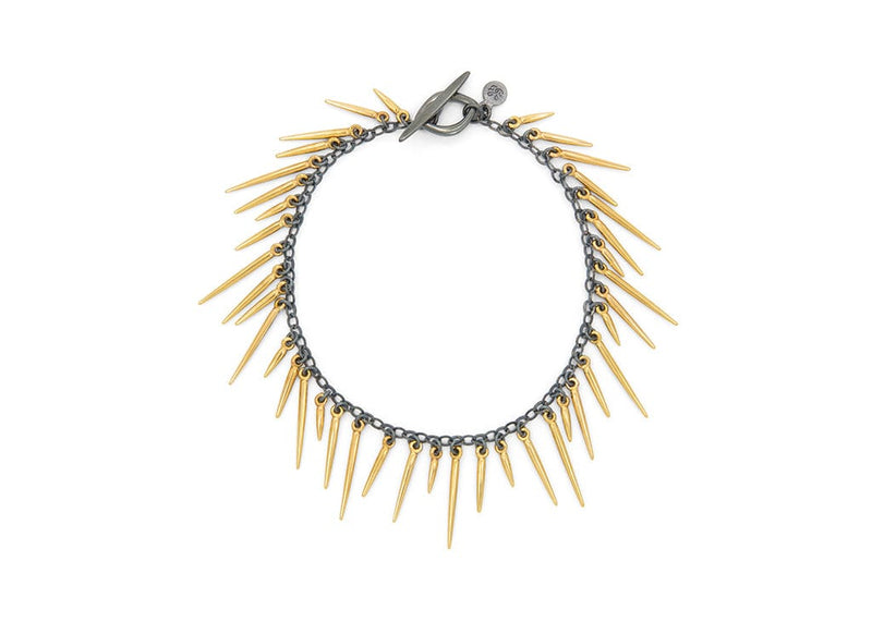14k gold fringe style bracelet with oxidized sterling silver