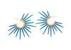 made in hawaii sea urchin earrings with blue powder coated spikes