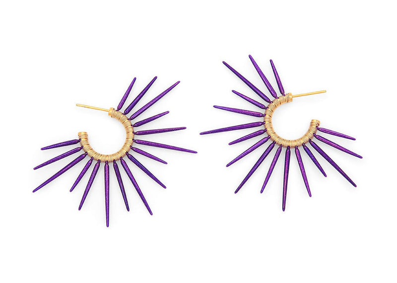 purple sea urchin inspired earrings with gold