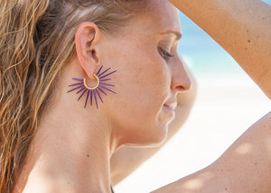 purple sea urchin spine earrings