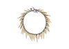 fringe style bracelet with gold powder coated spikes and oxidized sterling silver