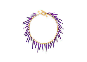fringe style bracelet with purple powder coated spikes and 14k gold vermeil