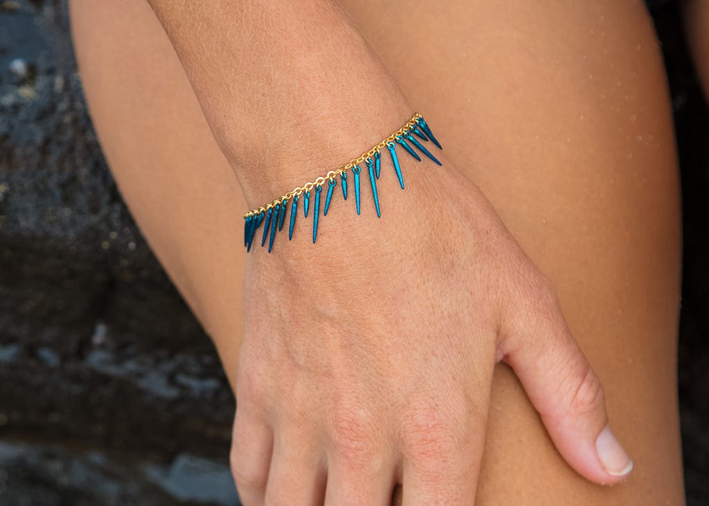 blue powder coated fringe style bracelet
