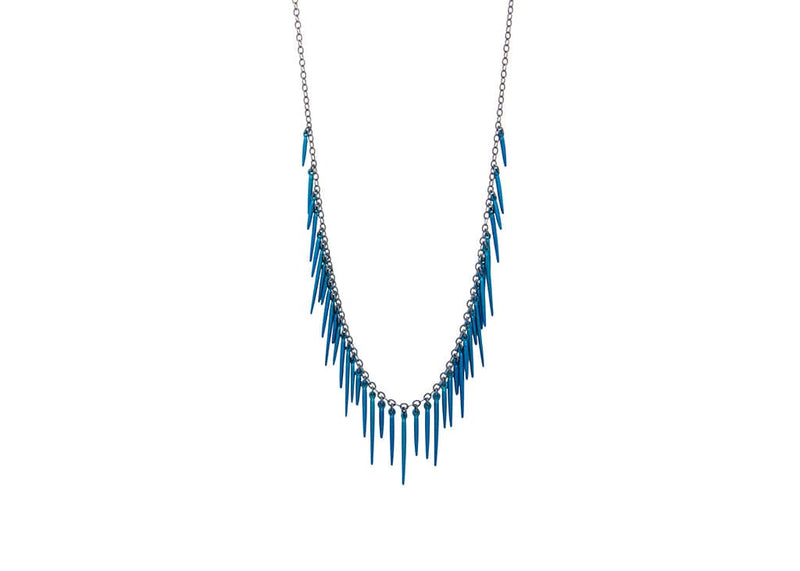 fringe style necklace with rose gold powder coated spikes and oxidized sterling silver