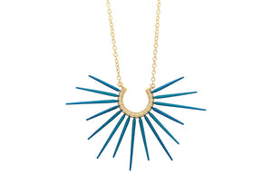 blue spiky necklace with gold chain