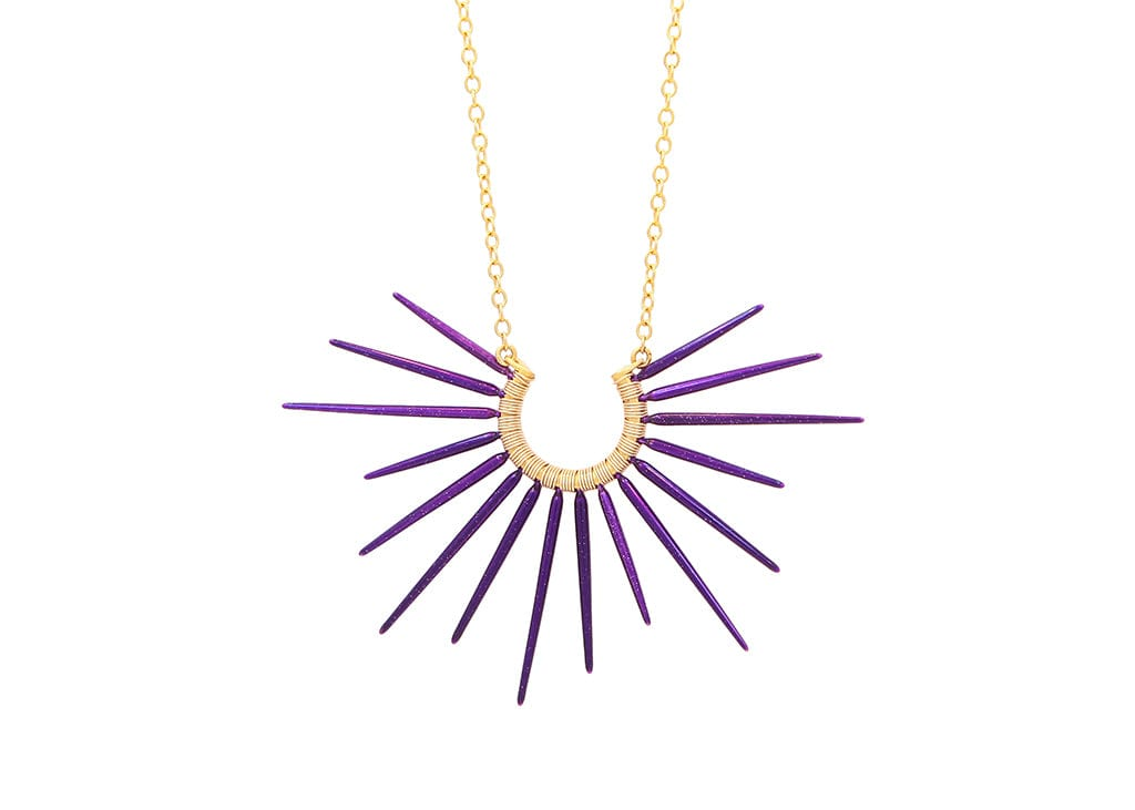 ocean inspired sea urchin necklace with purple spikes and gold chain