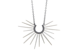 ocean inspired silver spike necklace with black chain