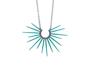 teal blue spiky necklace with black chain