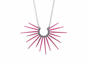 red spike necklace with black chain