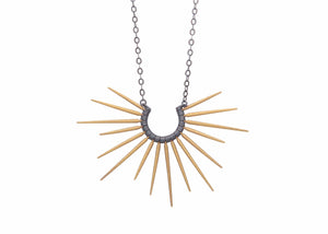 necklace with black chain and gold spikes