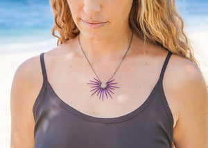 purple sea urchin spine necklace