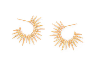14k rose gold spiky hoop earrings with pave set diamonds